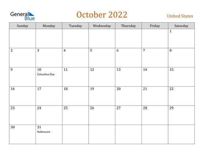 Calendar Of October 2022.United States October 2022 Calendar With Holidays