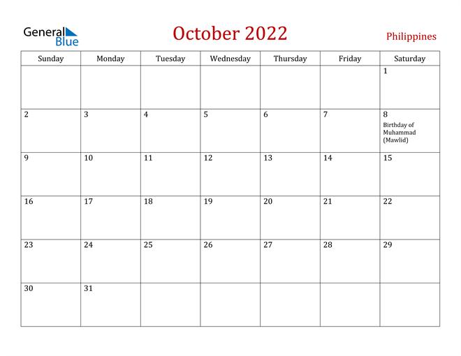 Philippines October 2022 Calendar