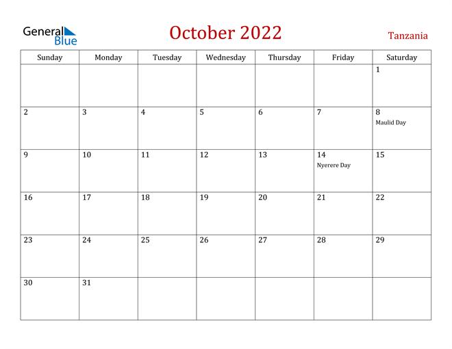 Image of October 2022 Dark and Red Professional Office Calendar Calendar