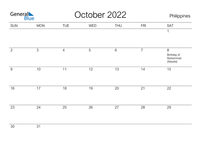 Printable October 2022 Calendar for Philippines