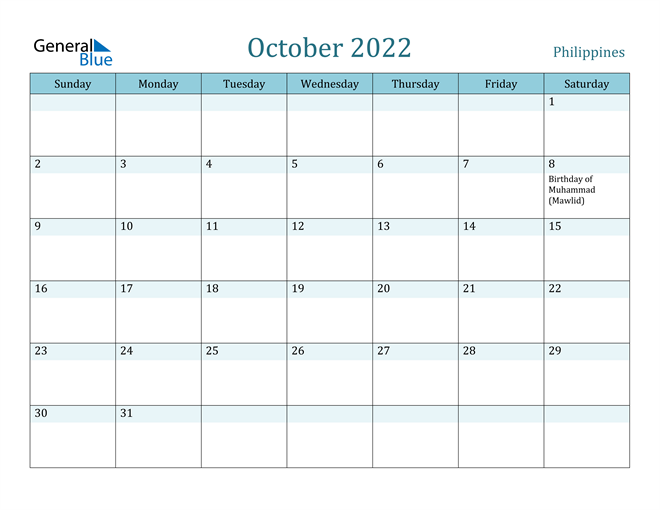 October 2022 Calendar with Holidays in PDF, Word, and Excel