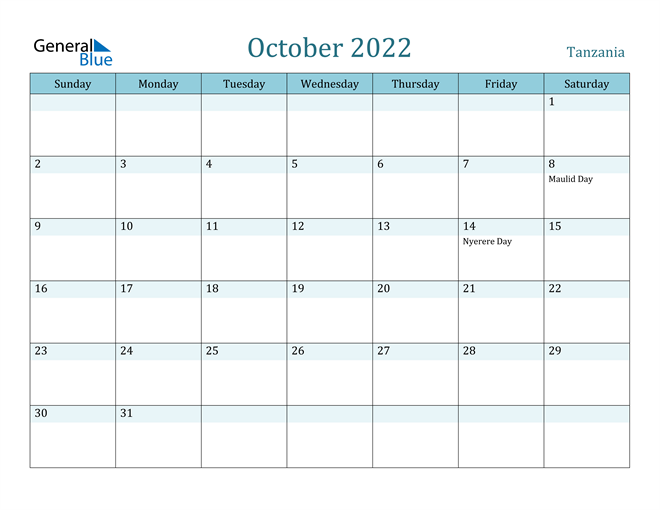 Image of October 2022 Colorful Turquoise Calendar in PDF, Word and Excel Calendar