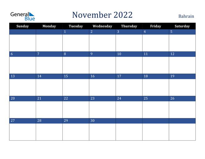 November 2022 Bahrain Calendar