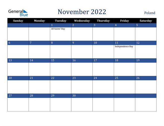 November 2022 Poland Calendar