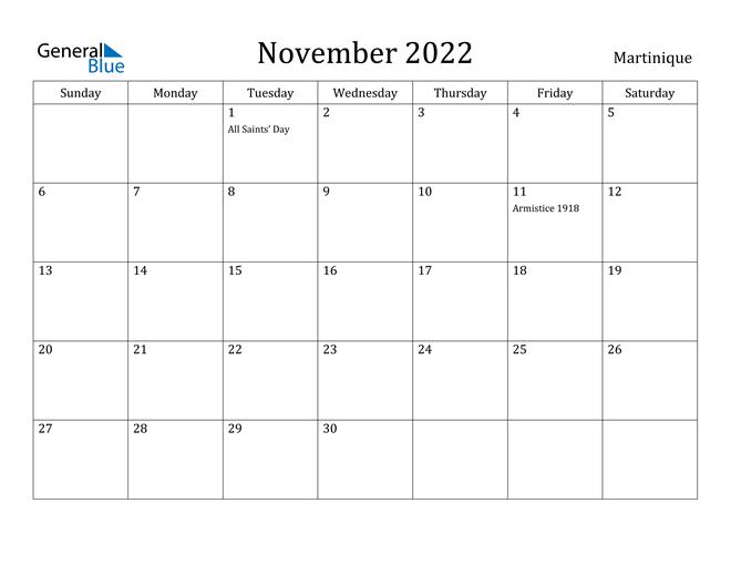 Image of November 2022 Martinique Calendar with Holidays Calendar