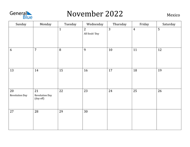 Image of November 2022 Mexico Calendar with Holidays Calendar