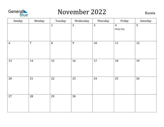 Image of November 2022 Russia Calendar with Holidays Calendar