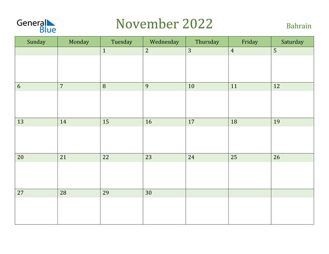 November 2022 Calendar with Bahrain Holidays