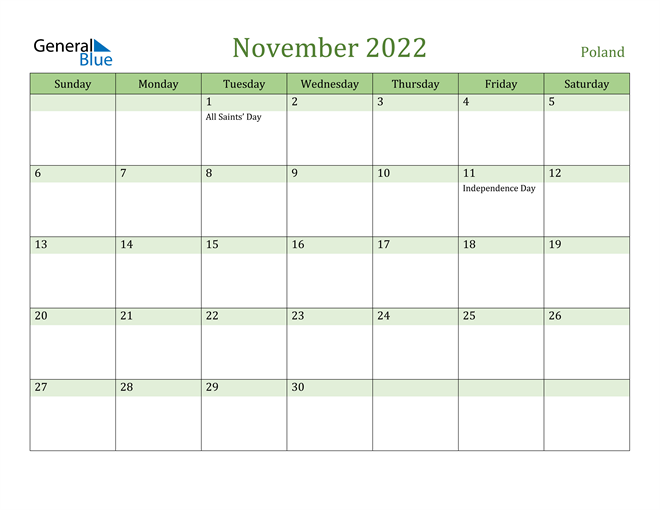November 2022 Calendar with Poland Holidays