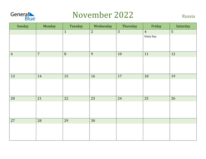 Image of November 2022 Cool and Relaxing Green Calendar Calendar