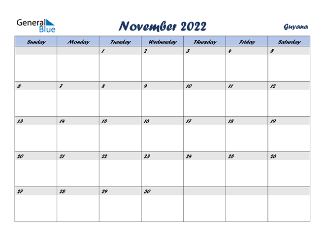 Image of November 2022 Italicized and Cool Blue, A Fun Calendar in PDF, Word and Excel Calendar
