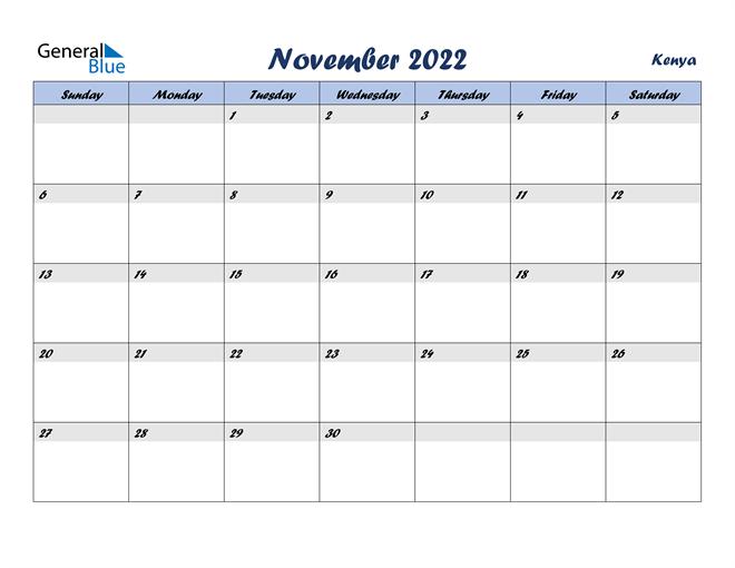 November 2022 Calendar with Holidays
