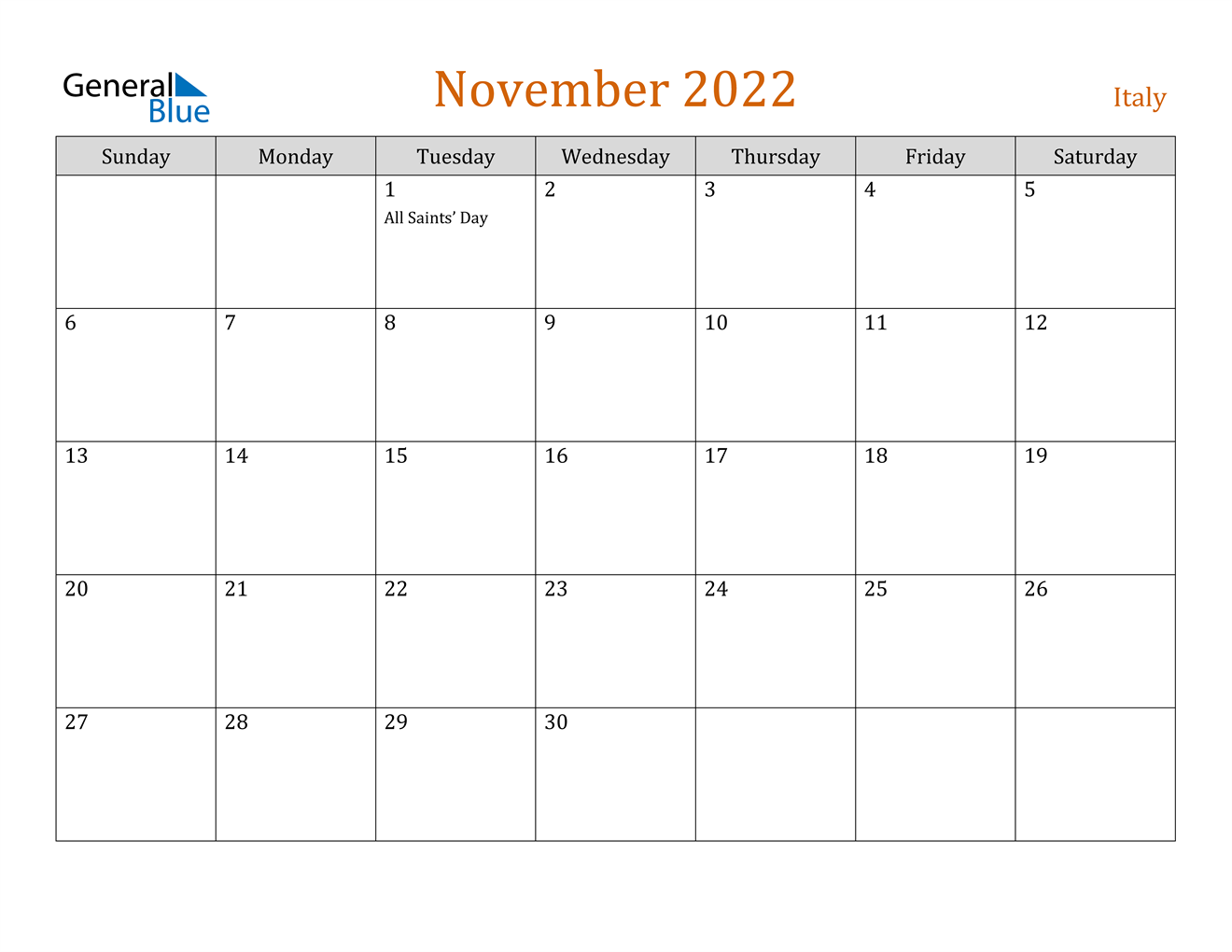 November 2022 Calendar - Italy
