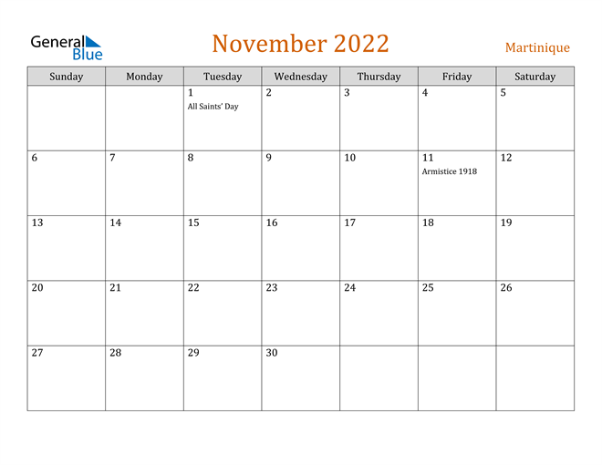 November 2022 Calendar - Martinique