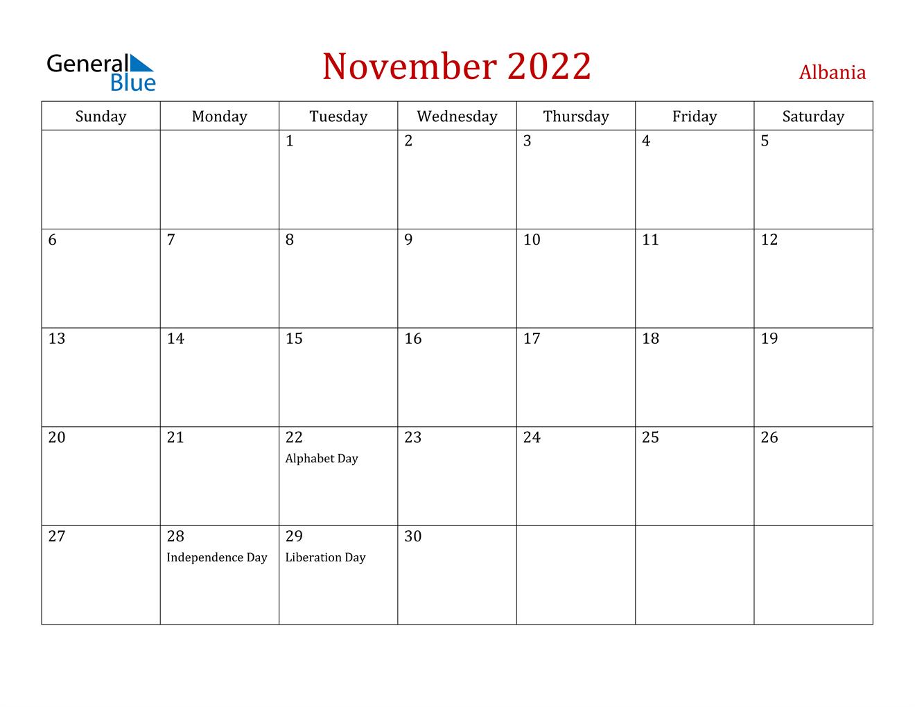November 2022 Calendar - Albania