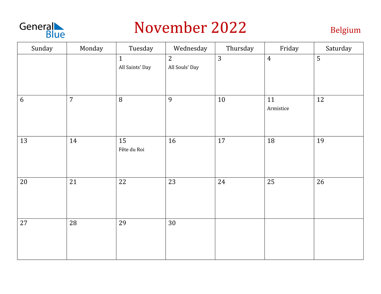November 2022 Calendar - Belgium