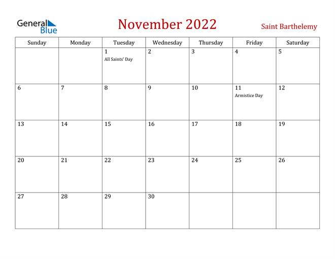 November 2022 Calendar - Saint Barthelemy