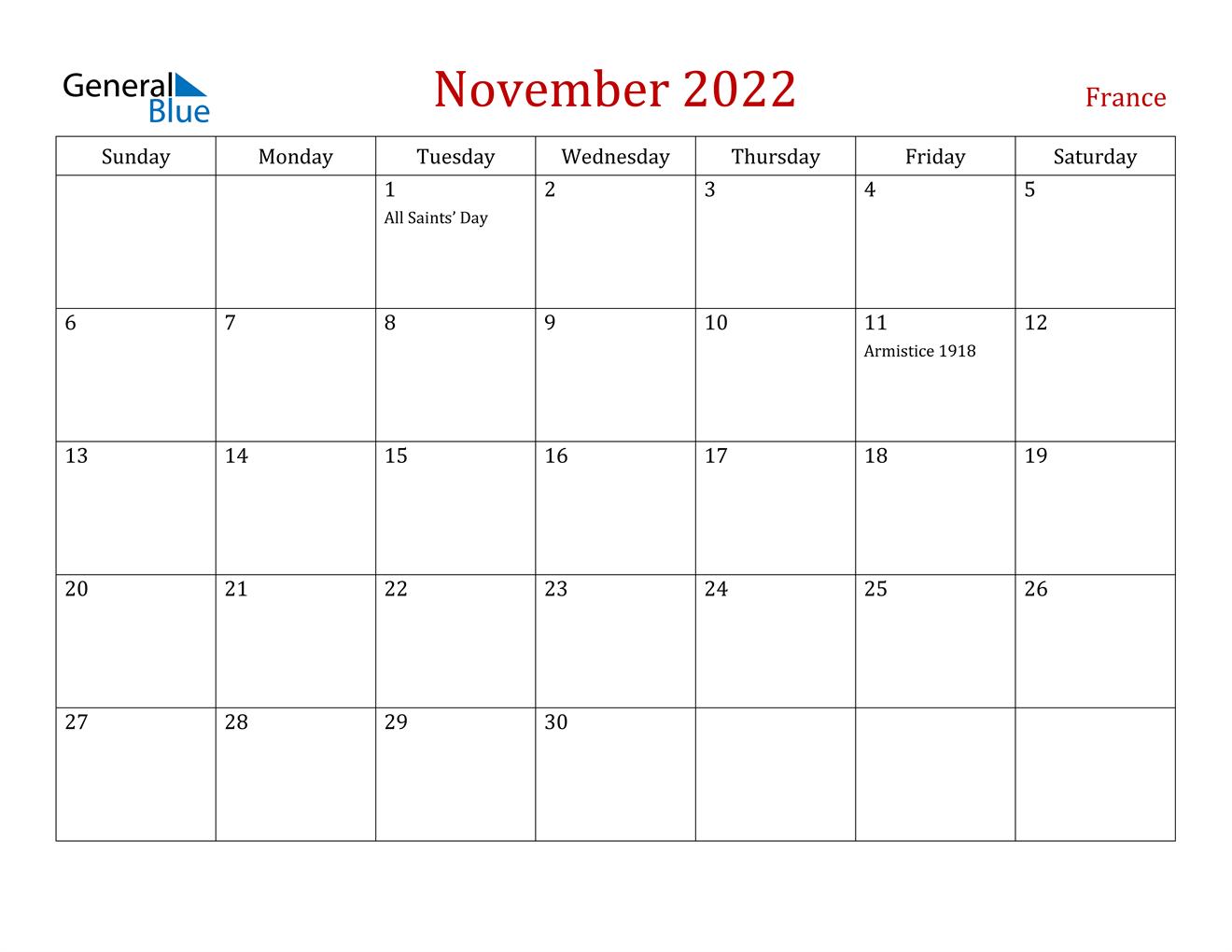 November 2022 Calendar - France