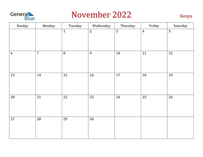 Kenya November 2022 Calendar