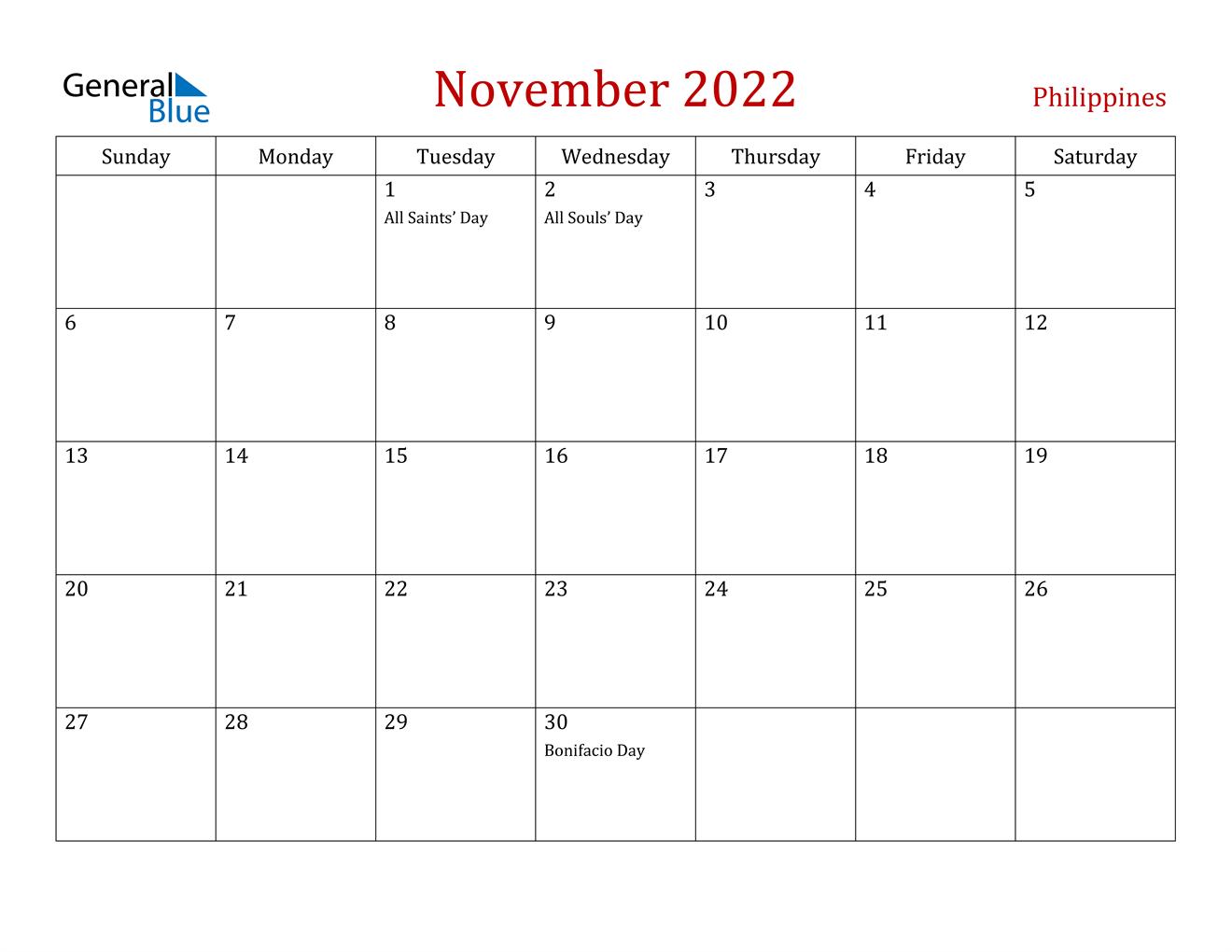 November 2022 Calendar.Philippines November 2022 Calendar With Holidays