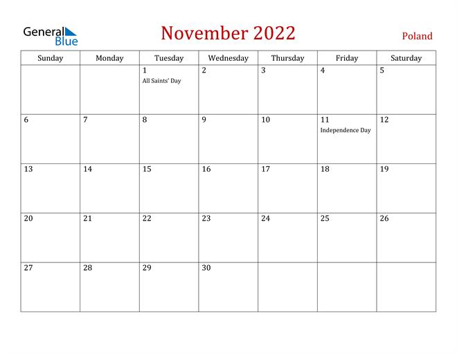 Poland November 2022 Calendar