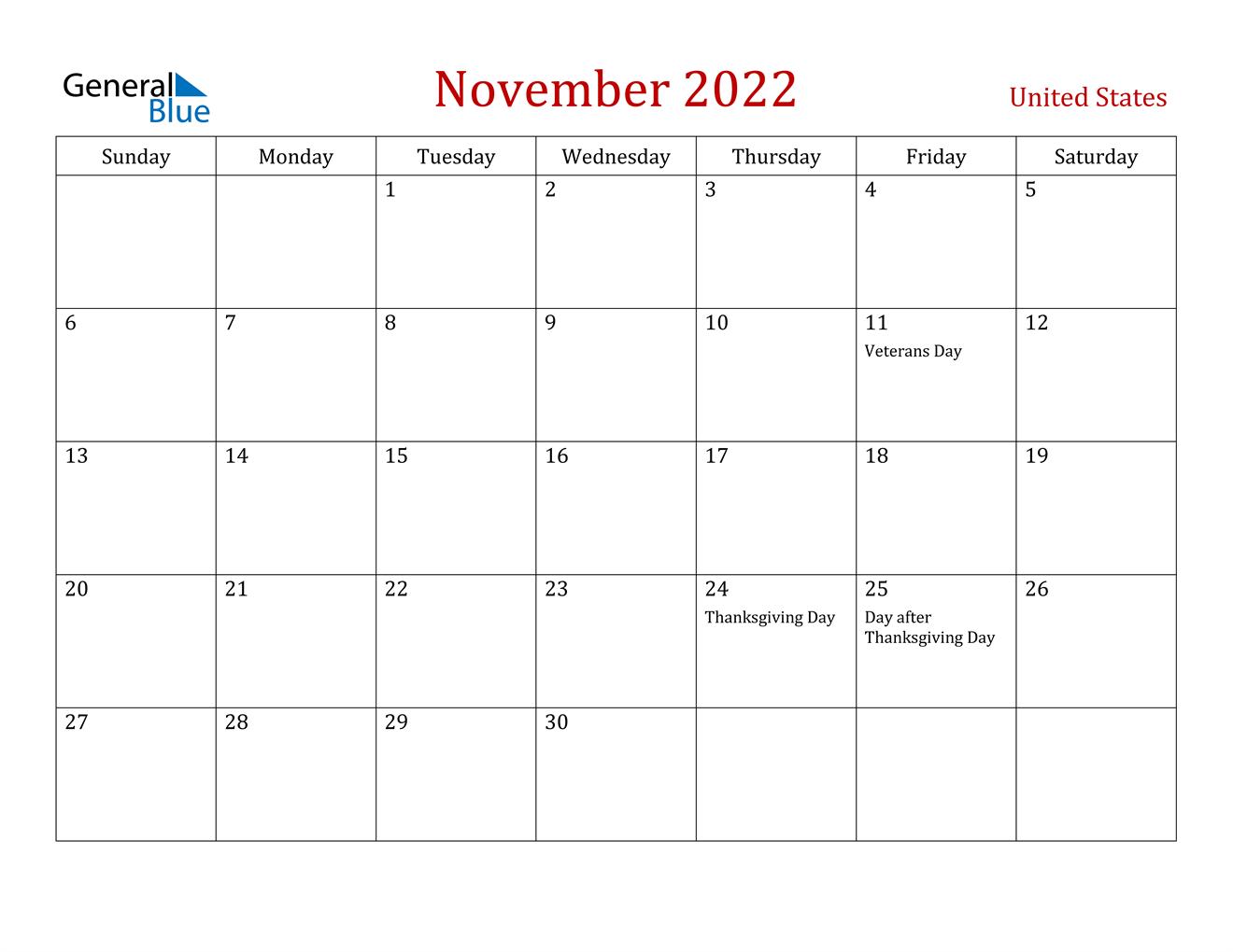 November 2022 Calendar - United States