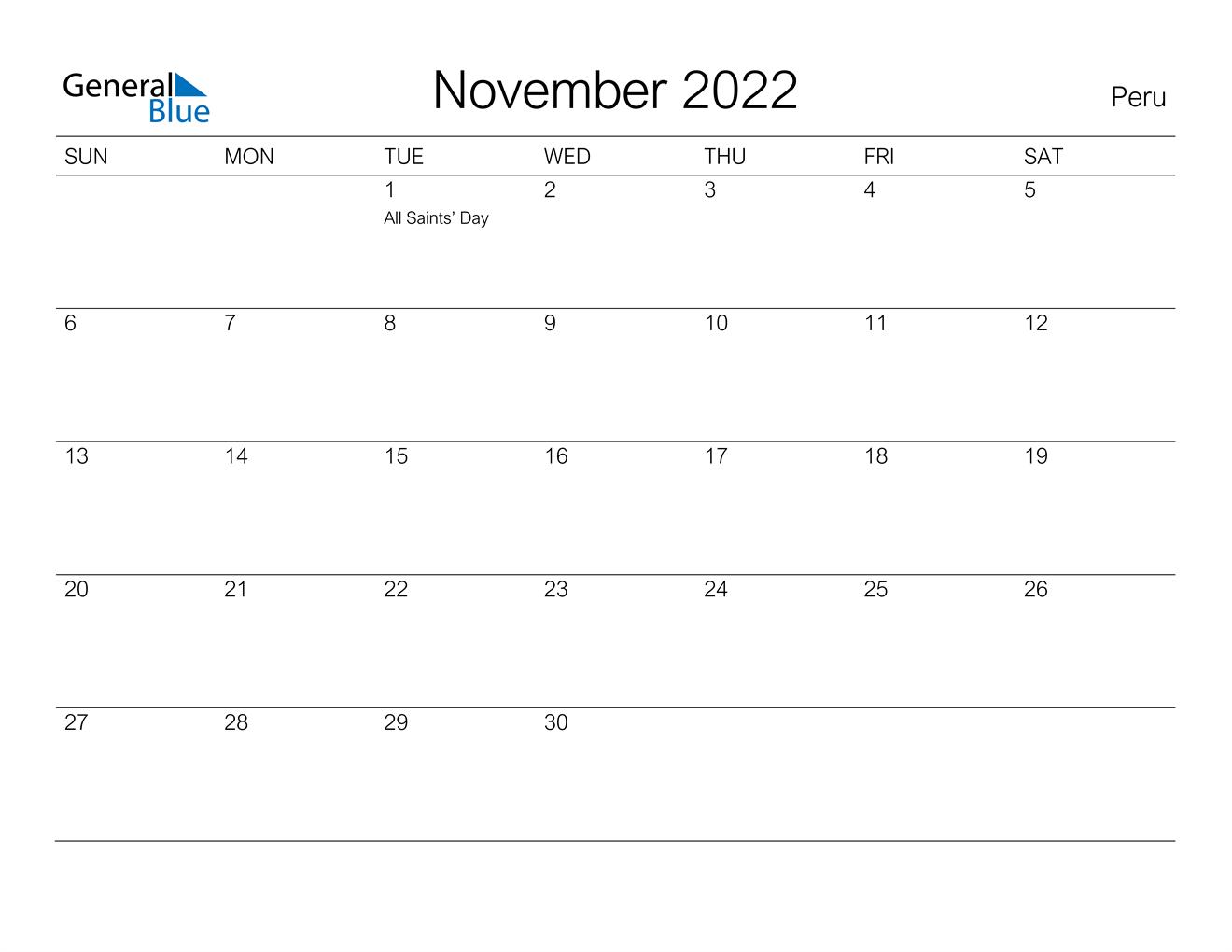 November 2022 Calendar - Peru