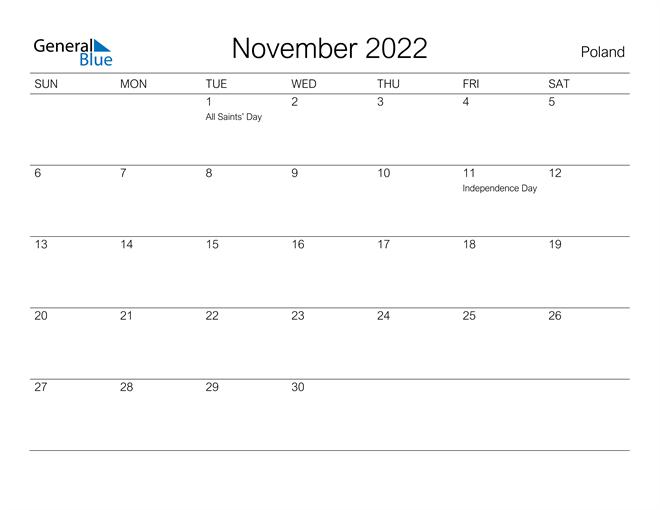 Printable November 2022 Calendar for Poland