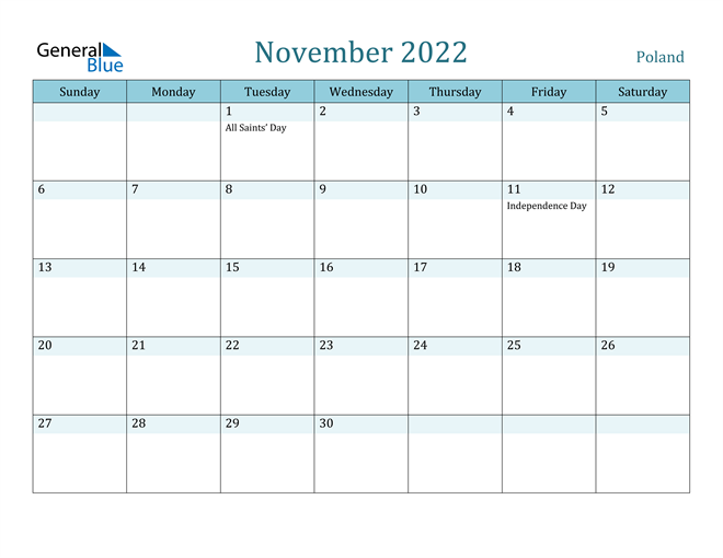 November 2022 Calendar with Holidays in PDF, Word, and Excel
