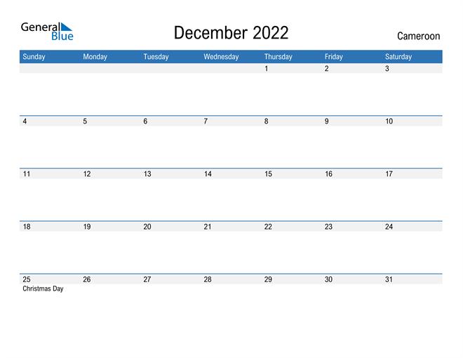 Fillable December 2022 Calendar