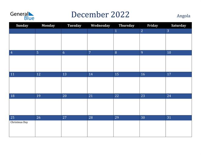 Image of December 2022 Stylish Dark Blue Calendar in PDF, Word and Excel Calendar