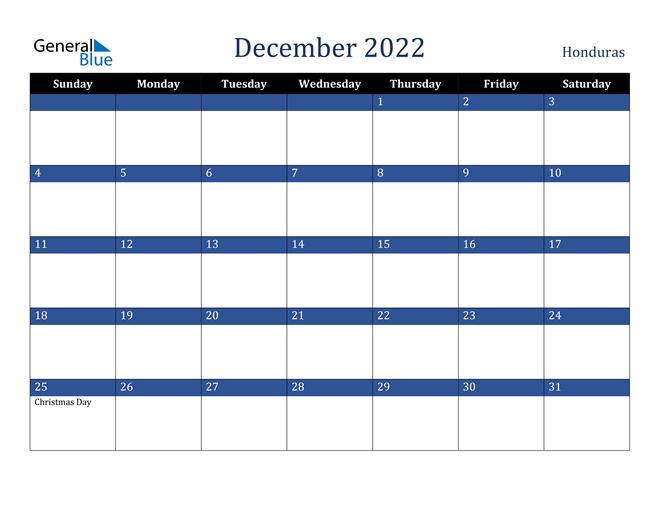 December 2022 Honduras Calendar