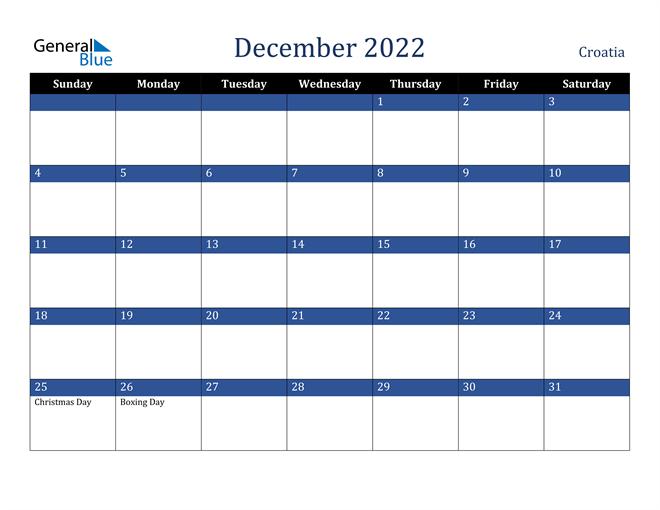 December 2022 Croatia Calendar