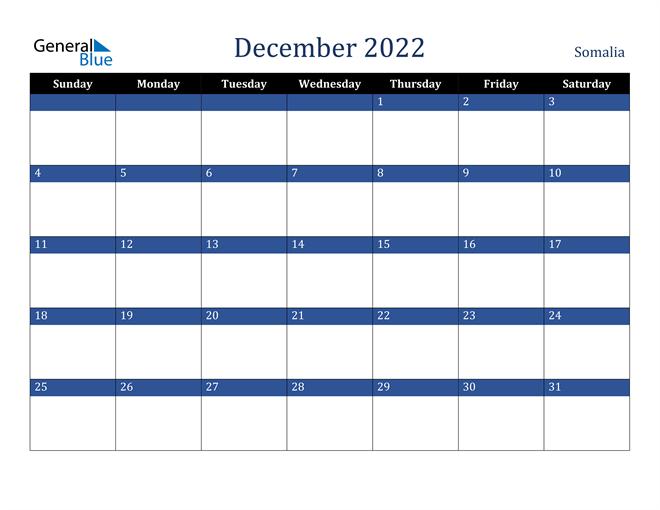 December 2022 Somalia Calendar