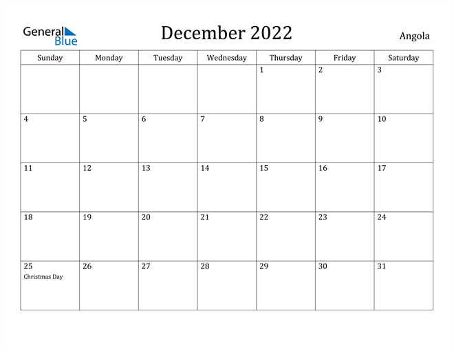 Image of December 2022 Angola Calendar with Holidays Calendar