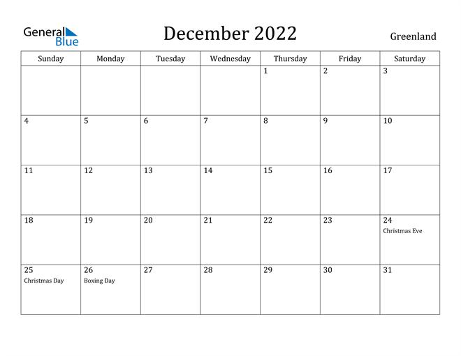 December 2022 Calendar Greenland