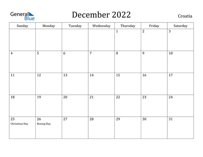 December 2022 Calendar Croatia