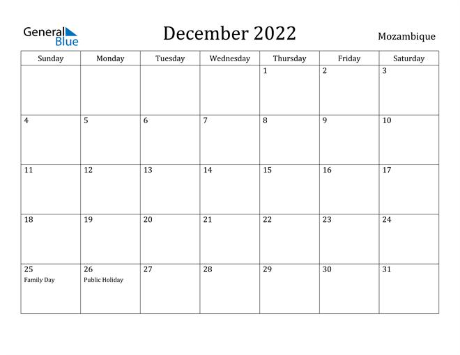 Image of December 2022 Mozambique Calendar with Holidays Calendar