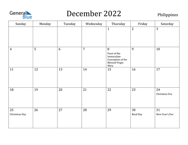 December 2022 Calendar With Holidays.Philippines December 2022 Calendar With Holidays