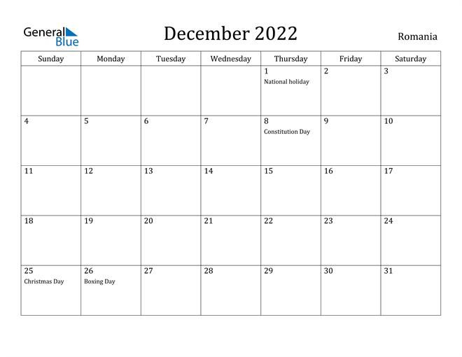 Image of December 2022 Romania Calendar with Holidays Calendar
