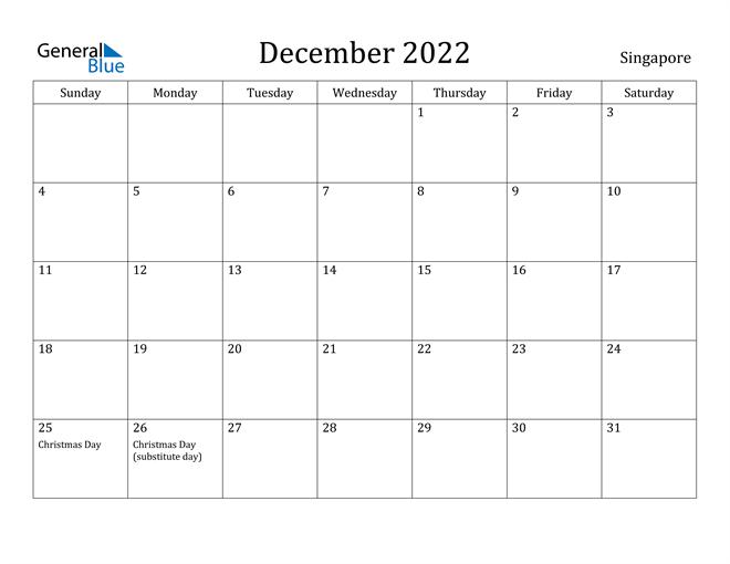 Image of December 2022 Singapore Calendar with Holidays Calendar