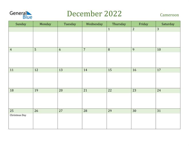 December 2022 Calendar with Cameroon Holidays