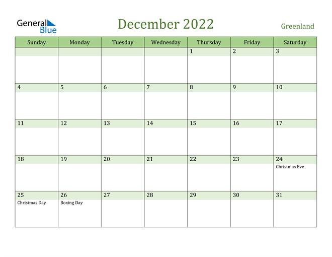 December 2022 Calendar with Greenland Holidays