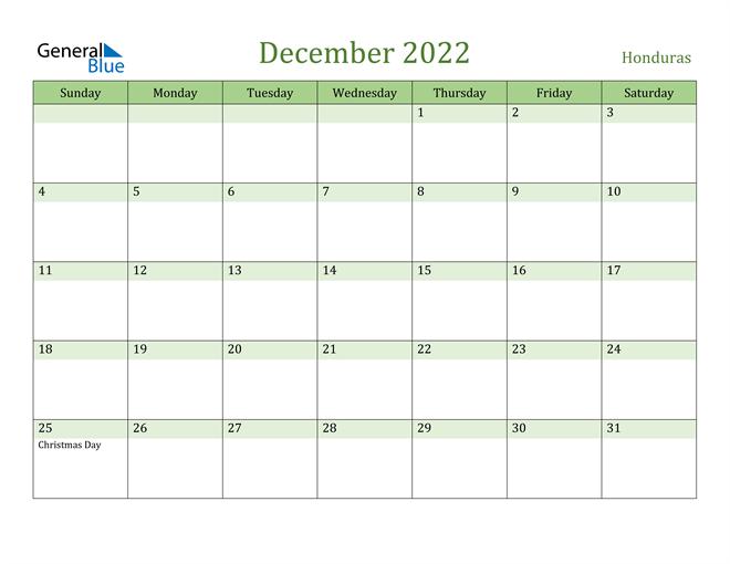 December 2022 Calendar with Honduras Holidays