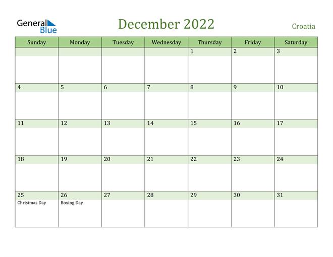 December 2022 Calendar with Croatia Holidays