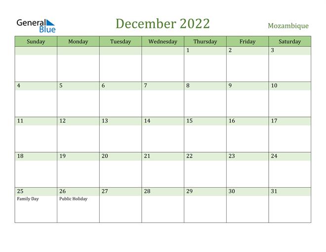 Image of December 2022 Cool and Relaxing Green Calendar Calendar