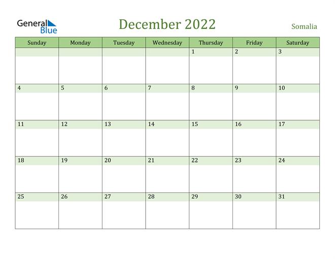 December 2022 Calendar with Somalia Holidays