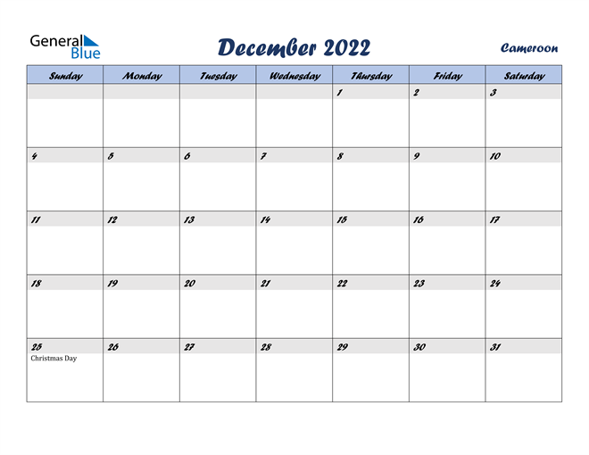 December 2022 Calendar with Holidays