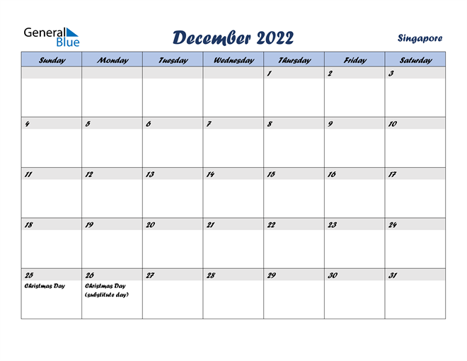 Image of December 2022 Italicized and Cool Blue, A Fun Calendar in PDF, Word and Excel Calendar