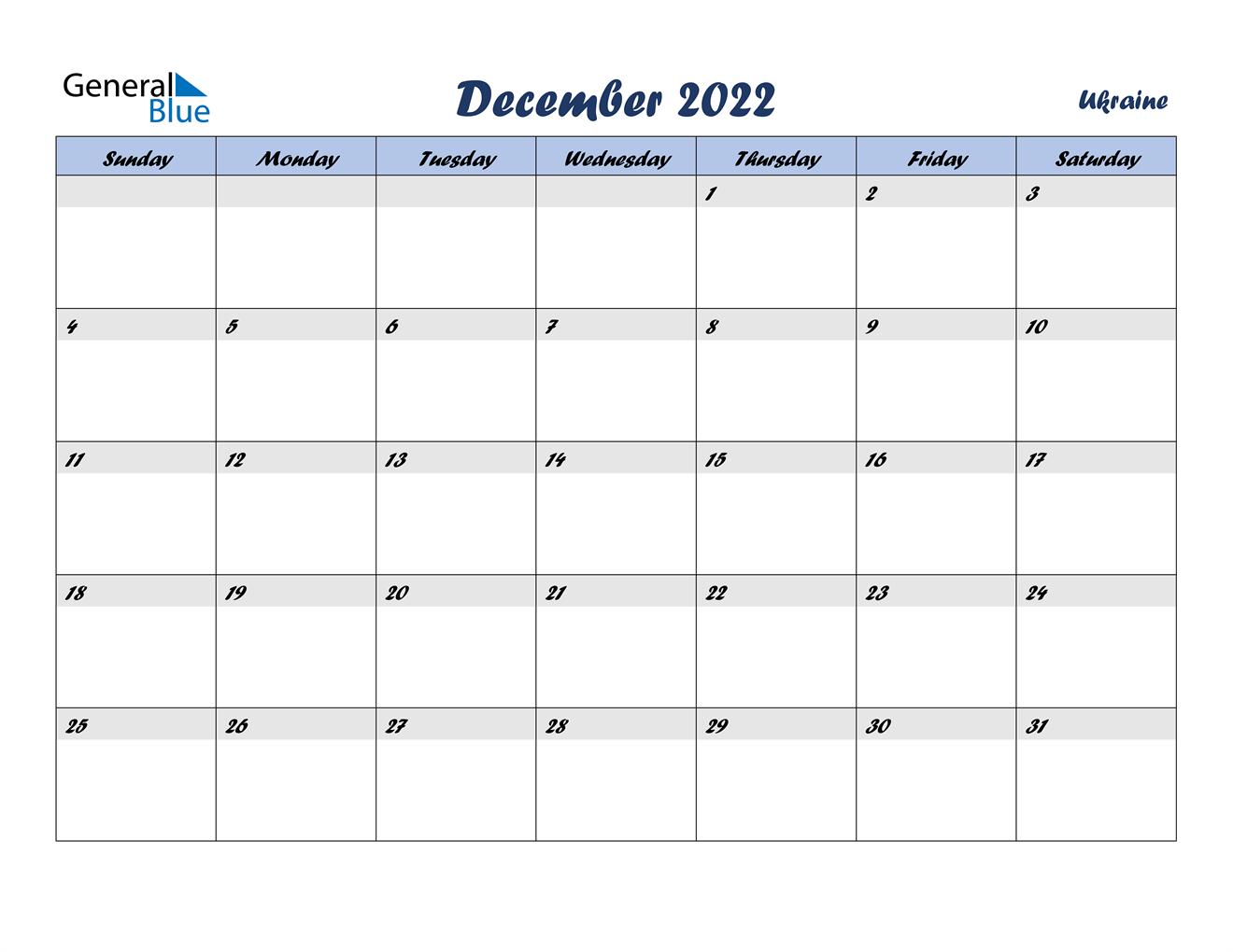December 2022 Calendar - Ukraine
